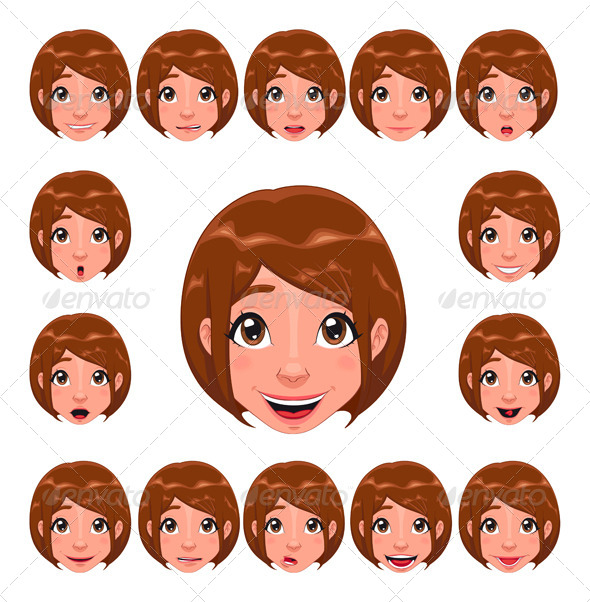 Girl Expressions with Lip Sync.  - People Characters