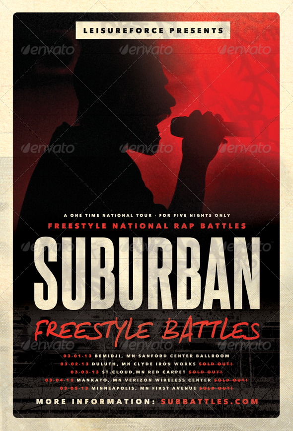 Suburban Freestyle - Hip-Hop Flyer Template - Concerts Events
