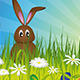 Easter Bunny on Green Meadow - GraphicRiver Item for Sale