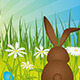 Easter Bunny on Green Meadow 2 - GraphicRiver Item for Sale