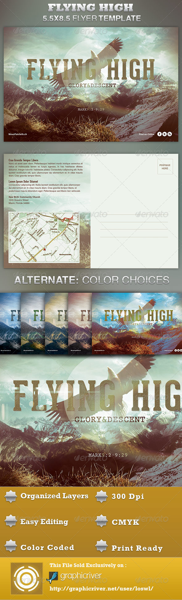Flying High Church Flyer Template - Church Flyers