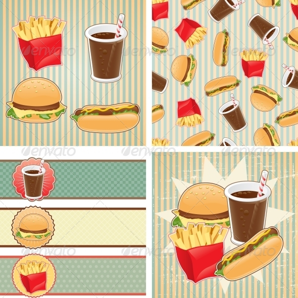 Retro Backgrounds with Fast Food. - Food Objects