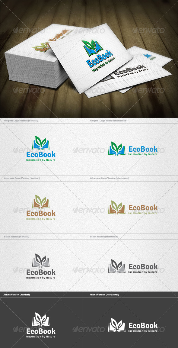 Eco Book Logo - Nature Logo Templates