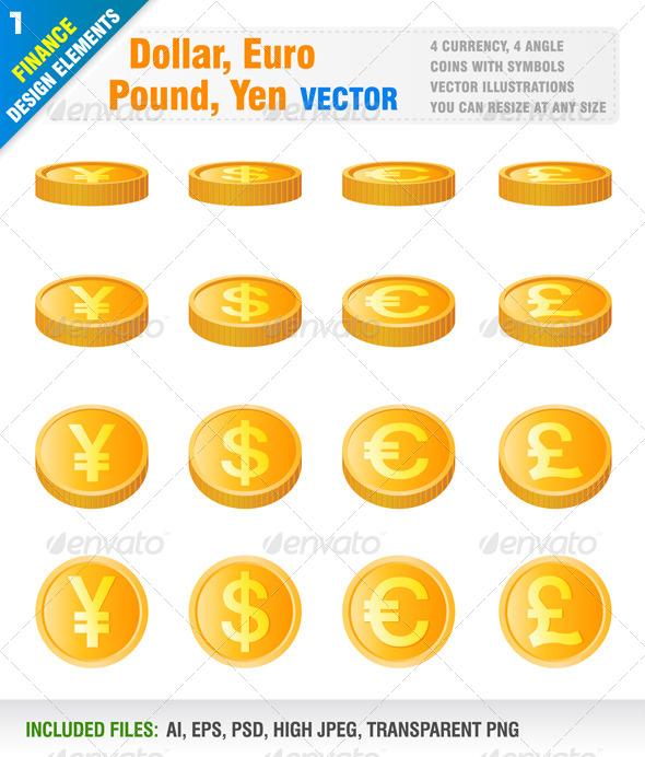 Dollar, Euro, Pound, Yen - Business Conceptual