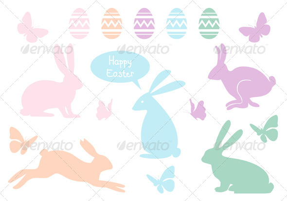 Easter Bunnies And Eggs, Vector Set - Seasons/Holidays Conceptual
