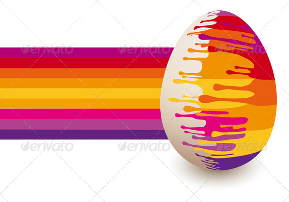 Colorful Abstract Easter Egg, Vector - Seasons/Holidays Conceptual