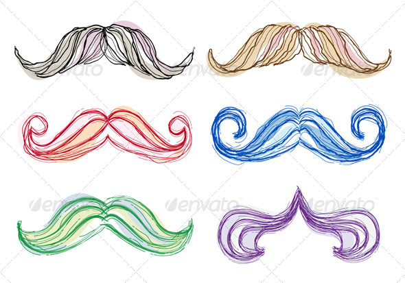 Hand Drawn Mustache Set - People Characters