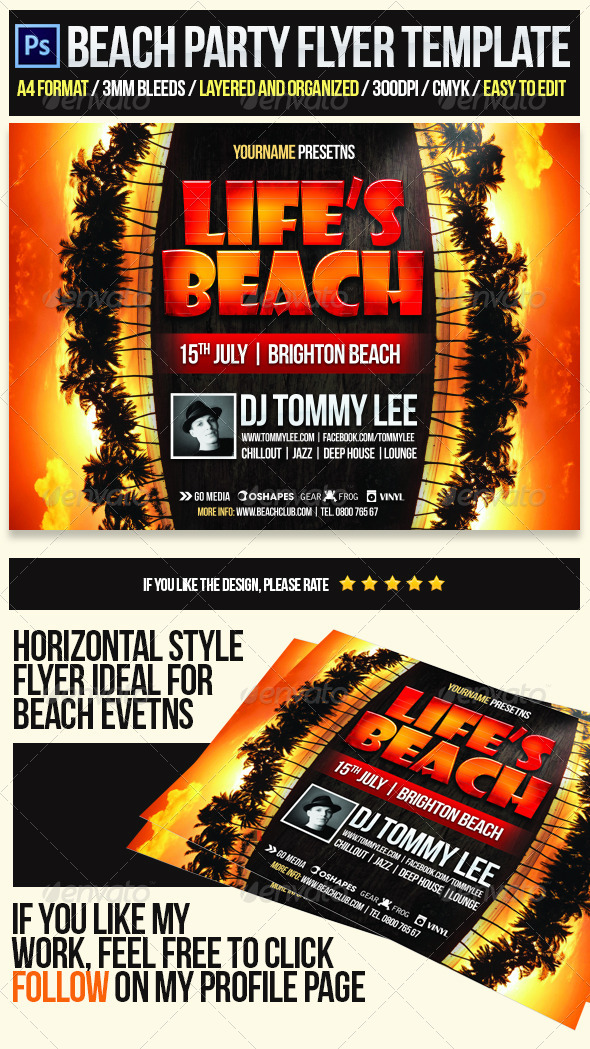 Life Is Beach Party Flyer Template - Clubs & Parties Events