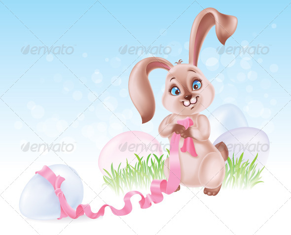 Seasonal Illustration with Easter Bunny - Animals Characters