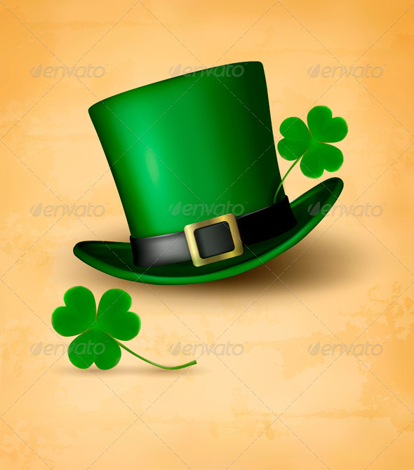 Saint Patricks Day Card with Clove Leaf and Hat - Miscellaneous Seasons/Holidays