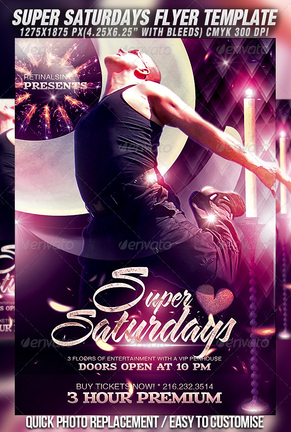Super Saturdays Flyer Template - Clubs & Parties Events