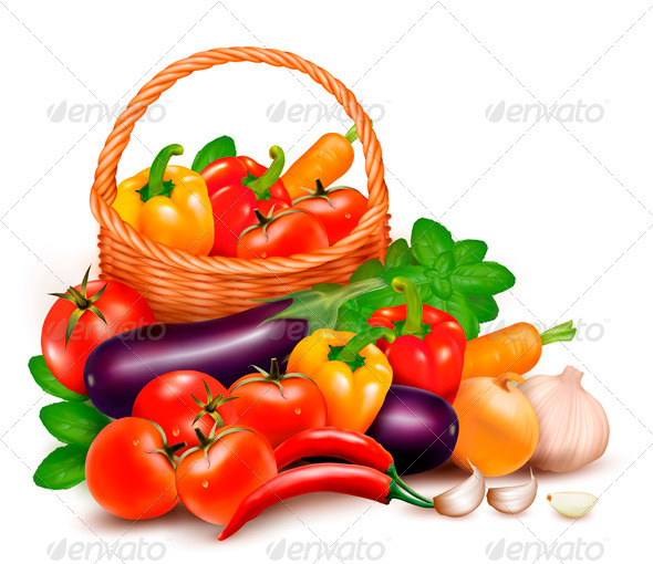 Background with Fresh Vegetables in Basket. - Food Objects