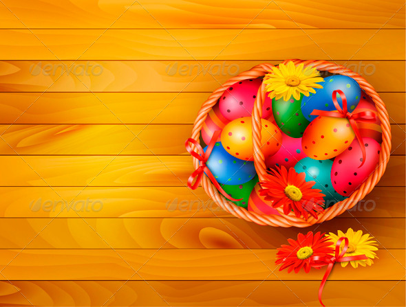 Easter Eggs in Basket - Miscellaneous Seasons/Holidays