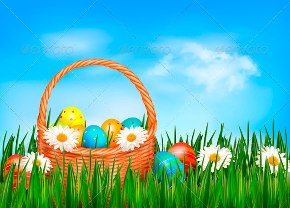 Easter Background Easter Eggs and Flowers - Miscellaneous Seasons/Holidays
