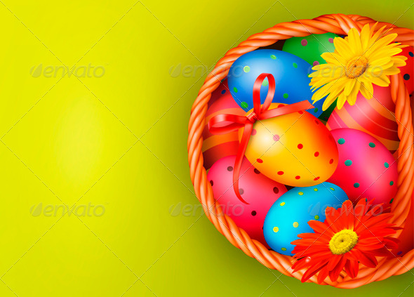Easter Background with Easter Eggs and Flowers - Miscellaneous Seasons/Holidays
