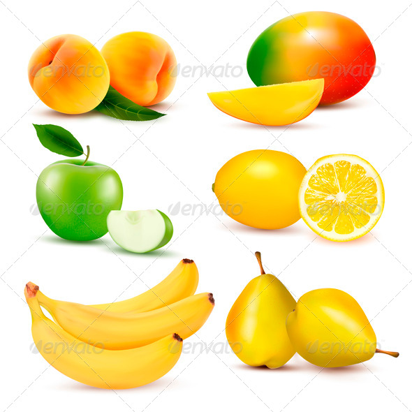 Big Group of Different Fruit. Vector Illustration. - Food Objects