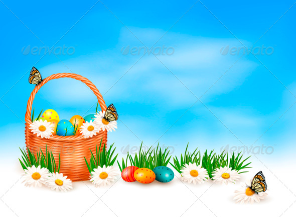 Easter Background with Easter Eggs in Basket - Seasons/Holidays Conceptual
