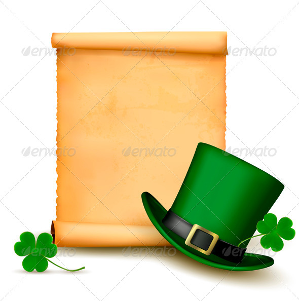 Background with St Patricks Day Hat with Clover - Miscellaneous Seasons/Holidays