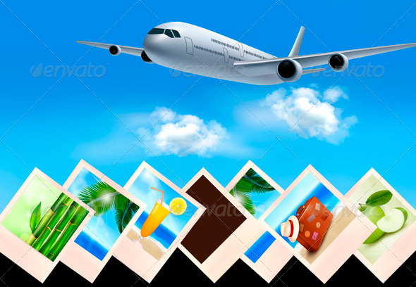 Background with Airplane and with Photos - Travel Conceptual