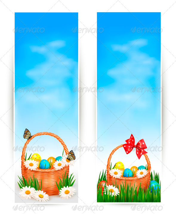 Easter Banners with Easter Eggs in Basket  - Miscellaneous Seasons/Holidays