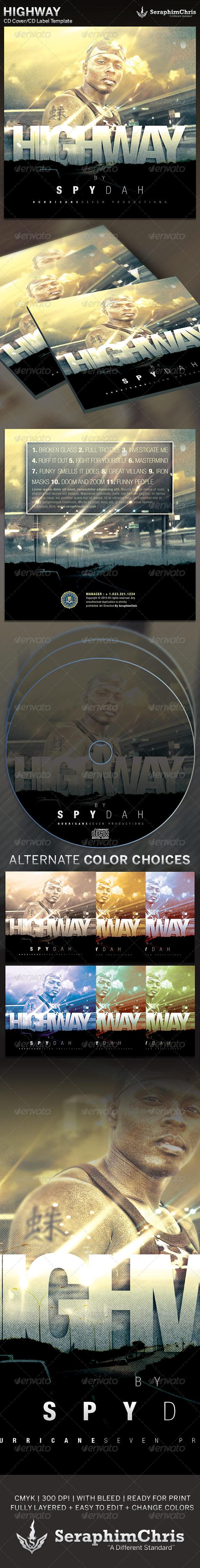 Highway: CD Cover Artwork Template - CD & DVD Artwork Print Templates