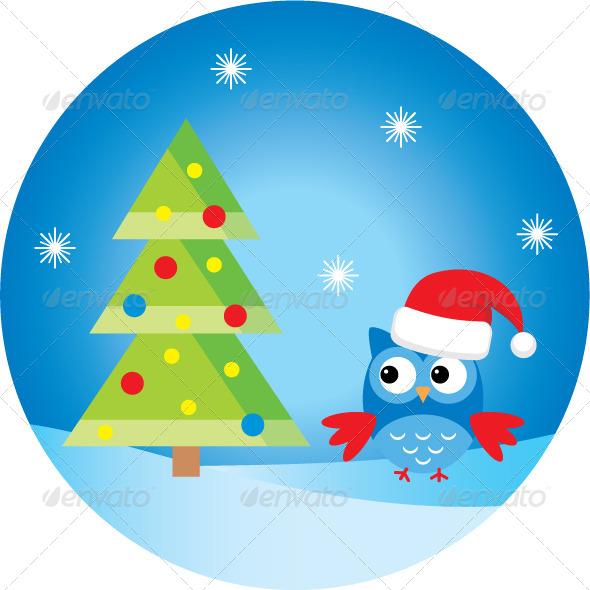 Owl Under the Christmas Tree - New Year Seasons/Holidays