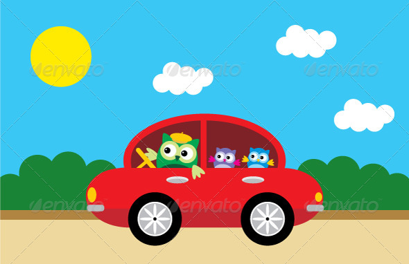 Owls Traveling By Car - Animals Characters