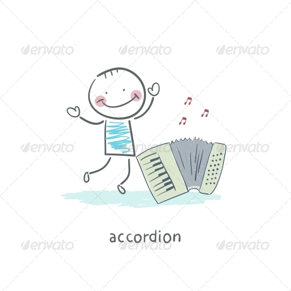 Man and Accordion - People Characters