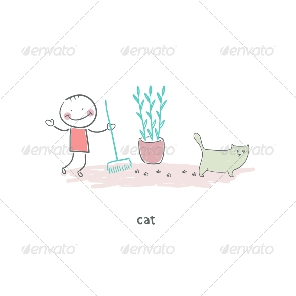 Man Cleaning up After the Cat. Illustration. - People Characters
