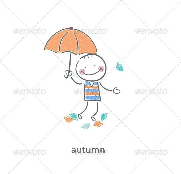 A Man under an Umbrella. - People Characters