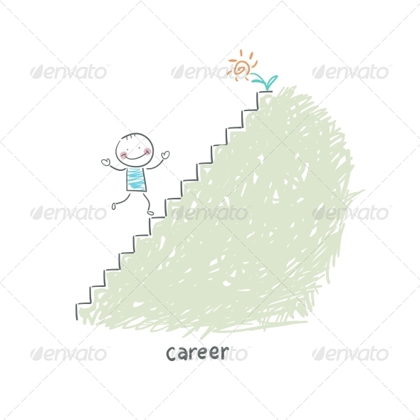 Career Ladder. Illustration. - People Characters