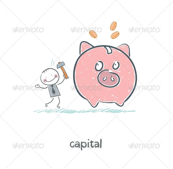 Man Breaks Piggy Bank with a Hammer. Illustration. - People Characters
