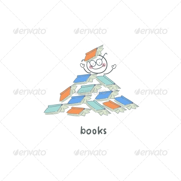 Reader of Books. Illustration. - People Characters