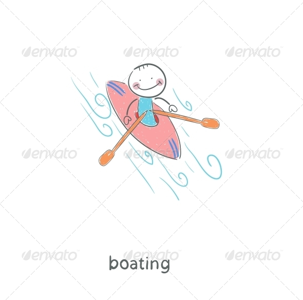 A Man in a Kayak. Illustration. - People Characters