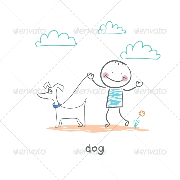 A Man Walking with a Dog. Illustration. - People Characters