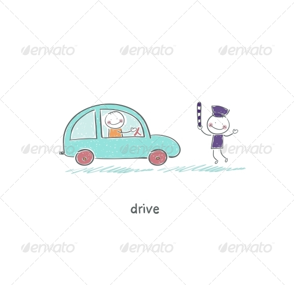 The Driver and a Policeman - People Characters