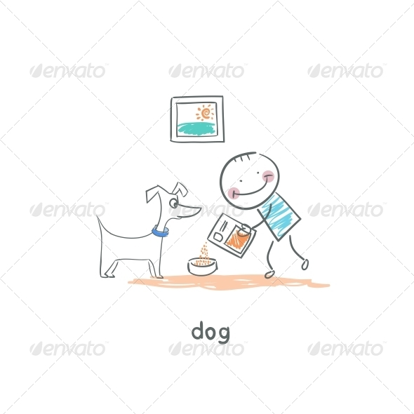 A Man Feeds the Dog. Illustration. - People Characters