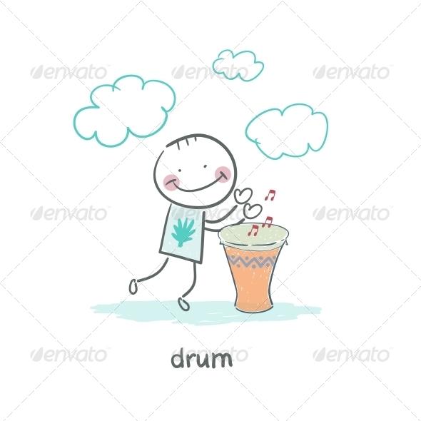 Man Drumming - People Characters