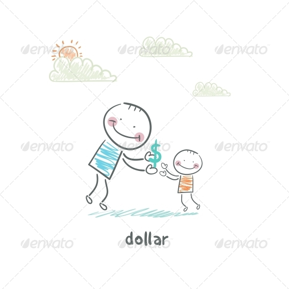 Man Giving Dollars. Illustration. - People Characters