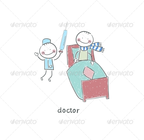 Doctor and Patient. Illustration. - People Characters