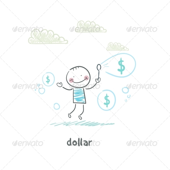Dollars - Bubbles. Illustration. - People Characters