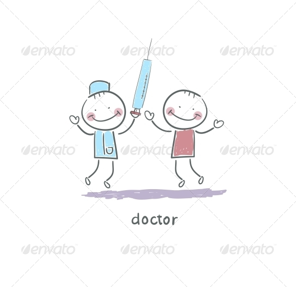 Doctor Holding Syringe. Illustration. - People Characters