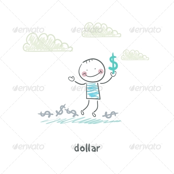 My Dollars. Illustration. - People Characters