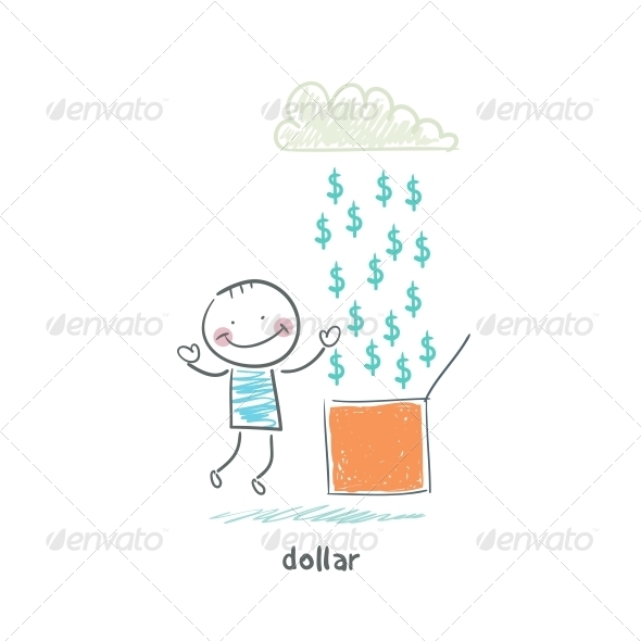 Rain of Dollars. Illustration. - People Characters