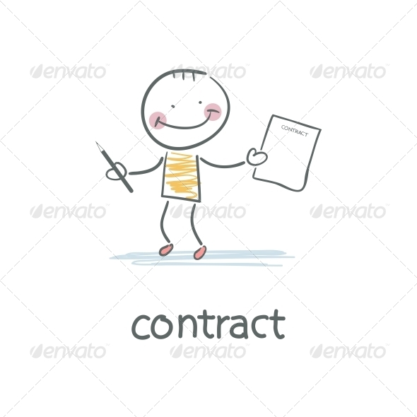 Person Signs the Contract. Illustration. - People Characters