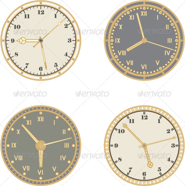 Set of Four Clocks and Different Arrows - Retro Technology