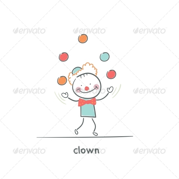 Clown Juggling. Illustration. - People Characters
