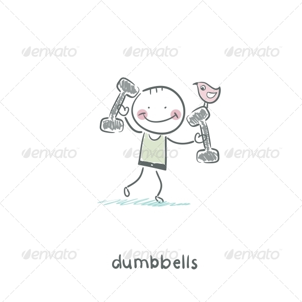 Man Lifts Dumbbells  - People Characters