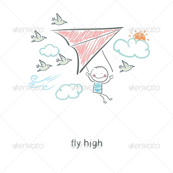 Man Flying a Hang Glider - People Characters