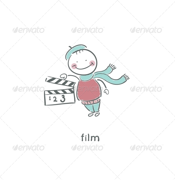 Blank Film Slate or Clapboard. - People Characters